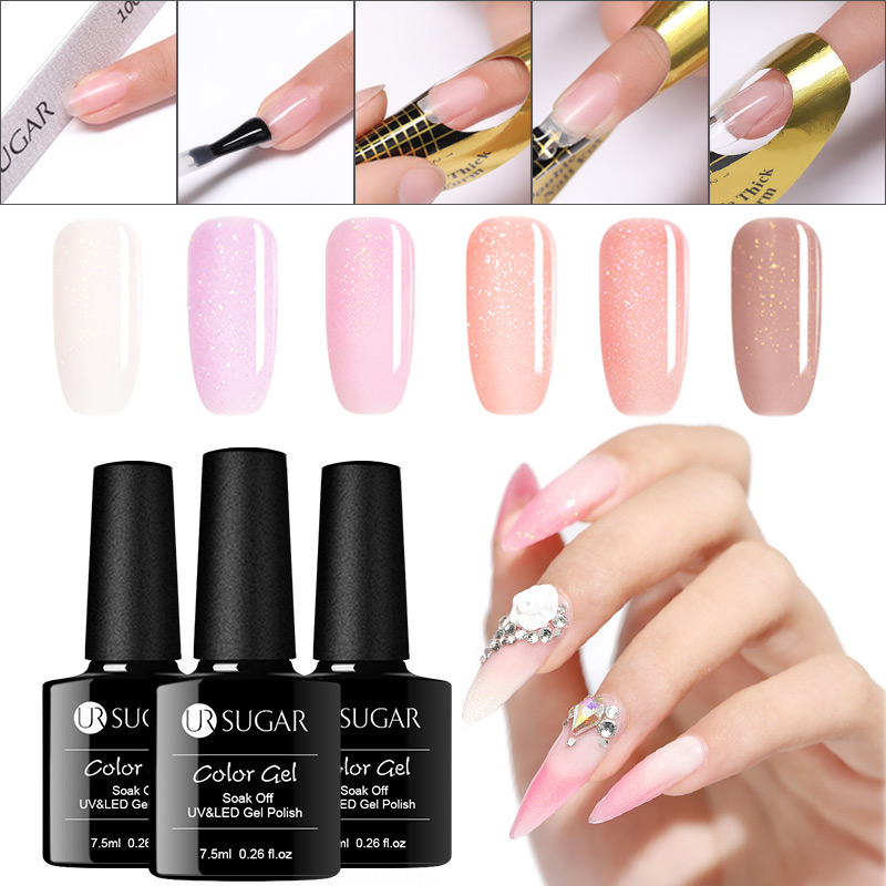 UR SUGAR Clear  7.5ml  Glitter Quick Extension Gel Acrylic Poly UV Gel Finger Building Soak Off UV Gel Nail Art