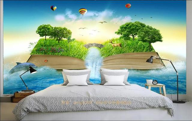 Benutzerdefinierte 3d fototapete schlafzimmer wandbild buch ...