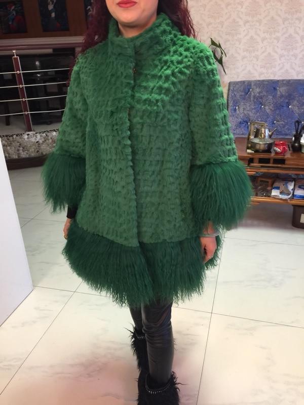 Mode Vêtements black Avec Longue Hiver Femmes La Mongolie Manteau Lapin Pour Réel Fourrure orange Conception Femme Mouton Green red De 2018 rose Outcoat Veste AEwBPxqTP