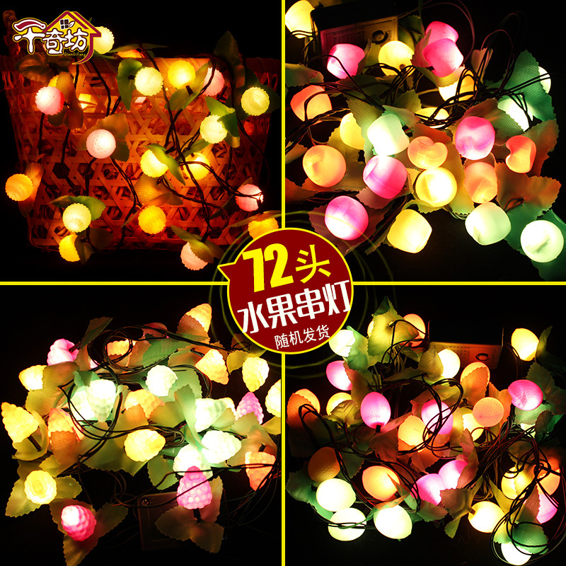 Christmas Decorative String Fruits Lamp Party Supplies Fruit Wedding Decoration Festival Lantern Gift 10m 100 led 110v 8 mode fancy ball lights decorative christmas party festival twinkle string lamp strip rgb us plug