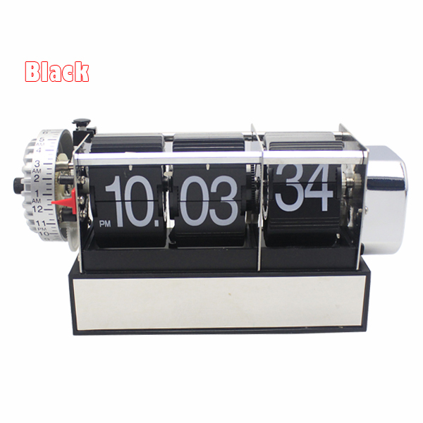 1 Piece Black White Automatic Flip Desk Alarm Clock For Art Home and Office Decorative Mini Table Clock 5