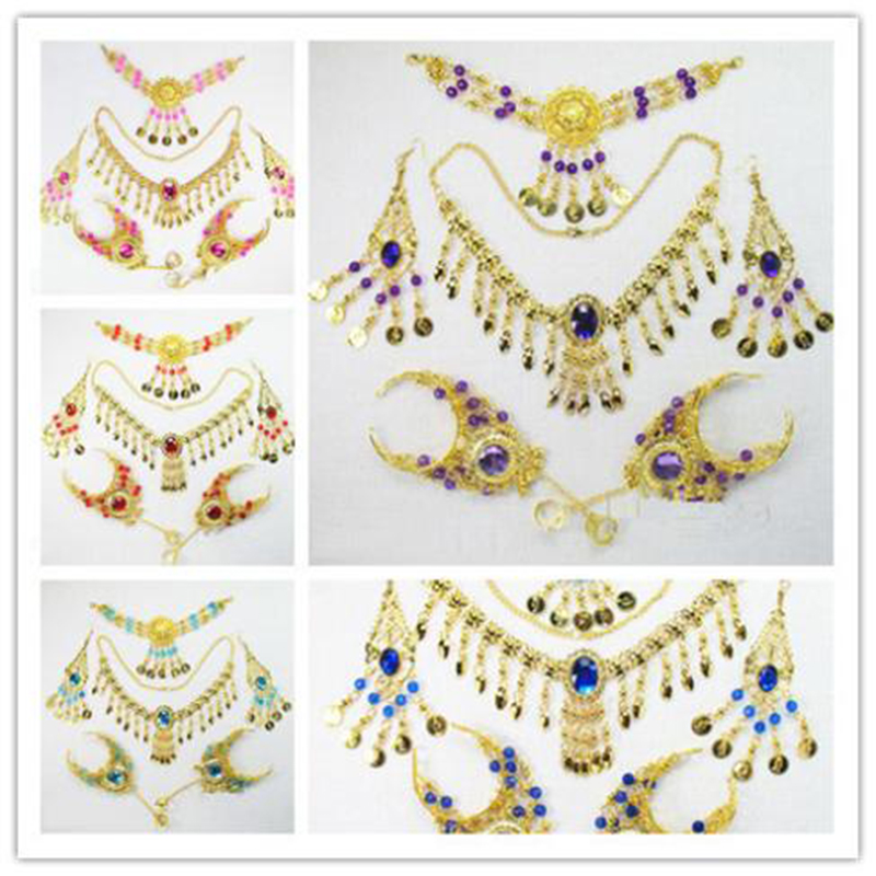2016 Cheap Indian Belly Dancing Accessories For Women Dance Wear Belly Dance Necklace Jewelry Set