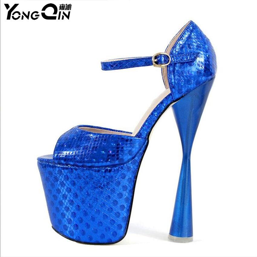 Fashion 20CM High Heels PU Leather Sexy Shoes Women's Party Shoes Peep Toe Women Pumps Shoes size 34-40 цена