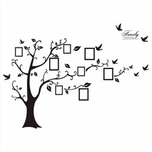 Grande 200*250 Cm/79 * 99in Preto 3D DIY Da Foto Da Árvore Decalques de Parede de PVC/Adesivo Família Adesivos de parede Mural Art Home Decor