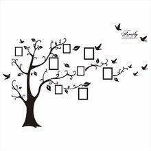 Grande 200*250 Cm/79 * 99in negro 3D DIY foto árbol PVC pared calcomanías/familia adhesiva pegatinas de pared arte Mural decoración del hogar