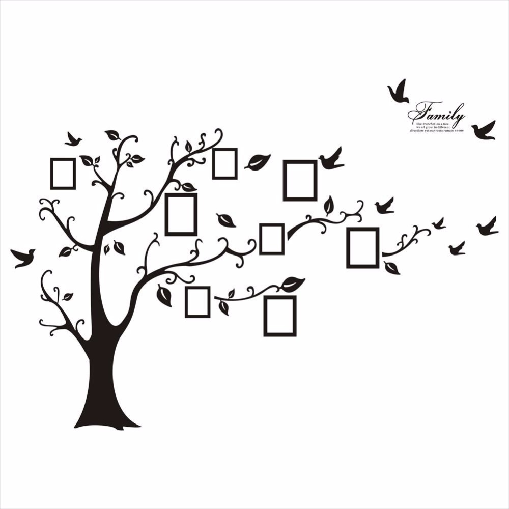 Large 200*250Cm/79*99in Black 3D DIY Photo Tree PVC Wall Decals/Adhesive Family Wall Stickers Mural Art Home Decor-in Wall Stickers from Home & Garden
