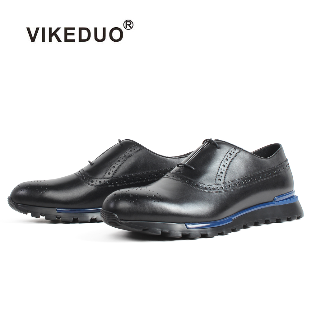 VIKEDUO 2019 New Men's Sneakers Plain Black Casual Calf Leather Shoes Brogue Patina Handmade Mans Footwear Sports Light Shoes