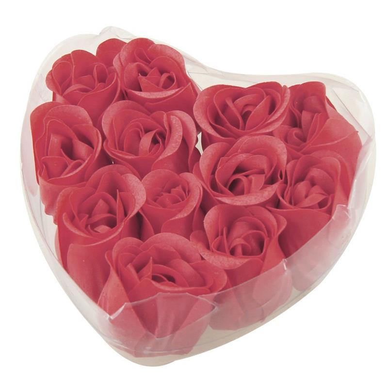12 Pcs Red Fragrant Rose Bud Petal Soap Wedding Favor + Heart Shape Box