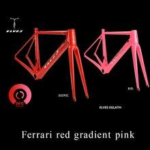 Elfes Vélo Cadre 28 degrés décoloration Carbone Vélo De Route Cadre en carbone Super Léger Escalade route Cadre + Fourche + casque