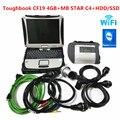 Высокое Качество MB Star C4 SD Подключение к V2019.12 программному обеспечению HDD SSD Toughbook CF19 4 Гб ноутбук работа для MB star c4 диагностический инструмент
