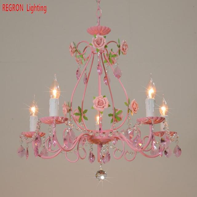 Regron Wedding Chandelier Lights Modern Crystal Pink Rose Iron LED Chandelier Luminary For Garden Restaurant Balcony Living Room