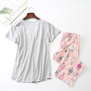 Image 2 - New 2019 Summer Women Pajamas Cotton Print Pink Sheep Pajama Set Top + Capris Elastic Waist Plus Size 3XL Lounge pijamas S92905