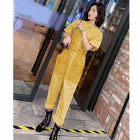 2019 Casual Fashion Denim Wide Leg Jumpsuits Summer Women Short Sleeve Office Overalls O Neck Sashes Female Long Romper