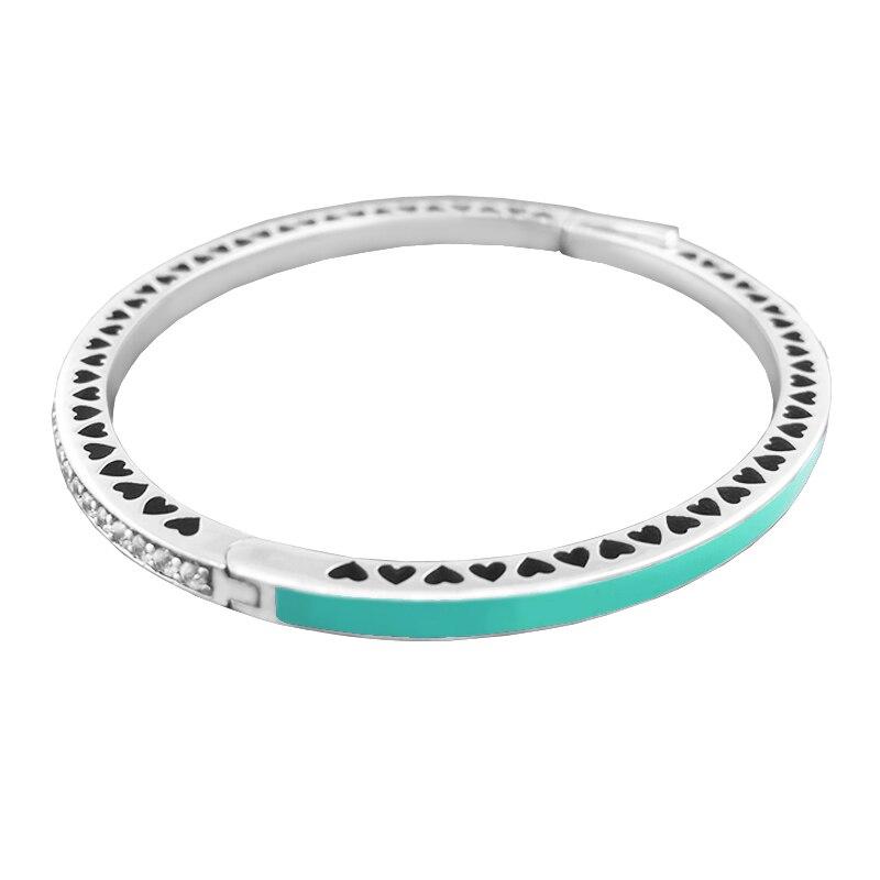 1 pièces coeur radieux brillant émail menthe bracelet 100% 925 bijoux en argent Sterling Bracelets en argent Bracelets pour les femmes bijoux à bricoler soi-même - 2