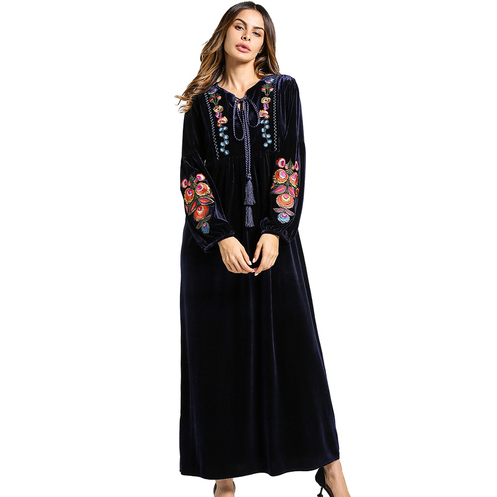 Vintage embroidery dress women Muslim Abaya V neck long dress cansual Long Sleeve Loose Middle East Islamic Spring Maxi Dress