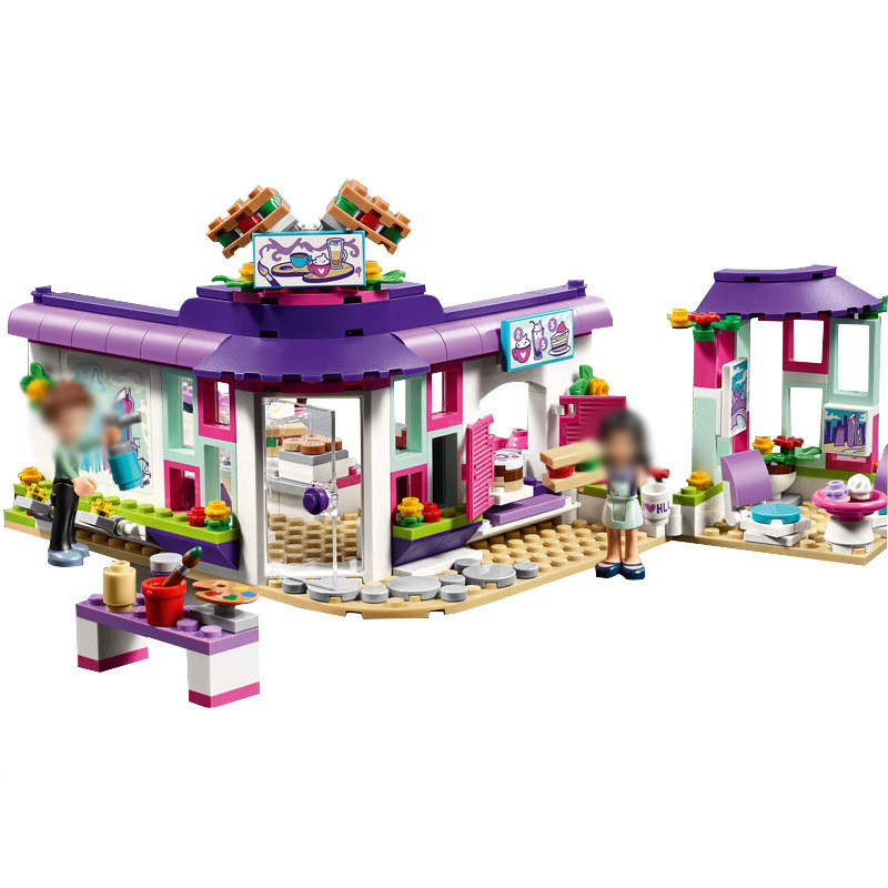 LEPIN Friends Emma's Art Cafe Building Blocks Bricks Kids Classic Girl Model Toys For Children Compatible Legoe 10162 friends city park cafe building blocks bricks toys girl game toys for children house gift compatible with lego gift