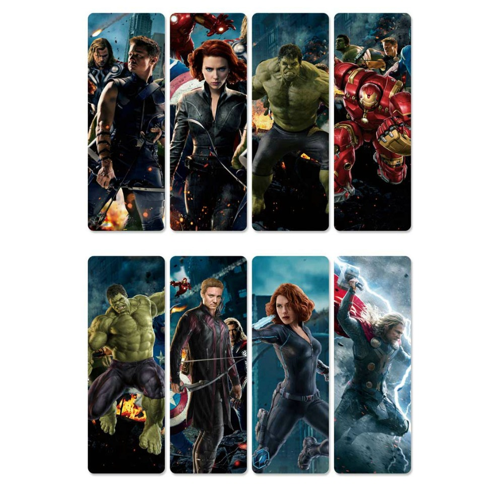 8pcs The Avengers Bookmarks Waterproof Transparent PVC Plastic Bookmark Beautiful Book Marks Gift
