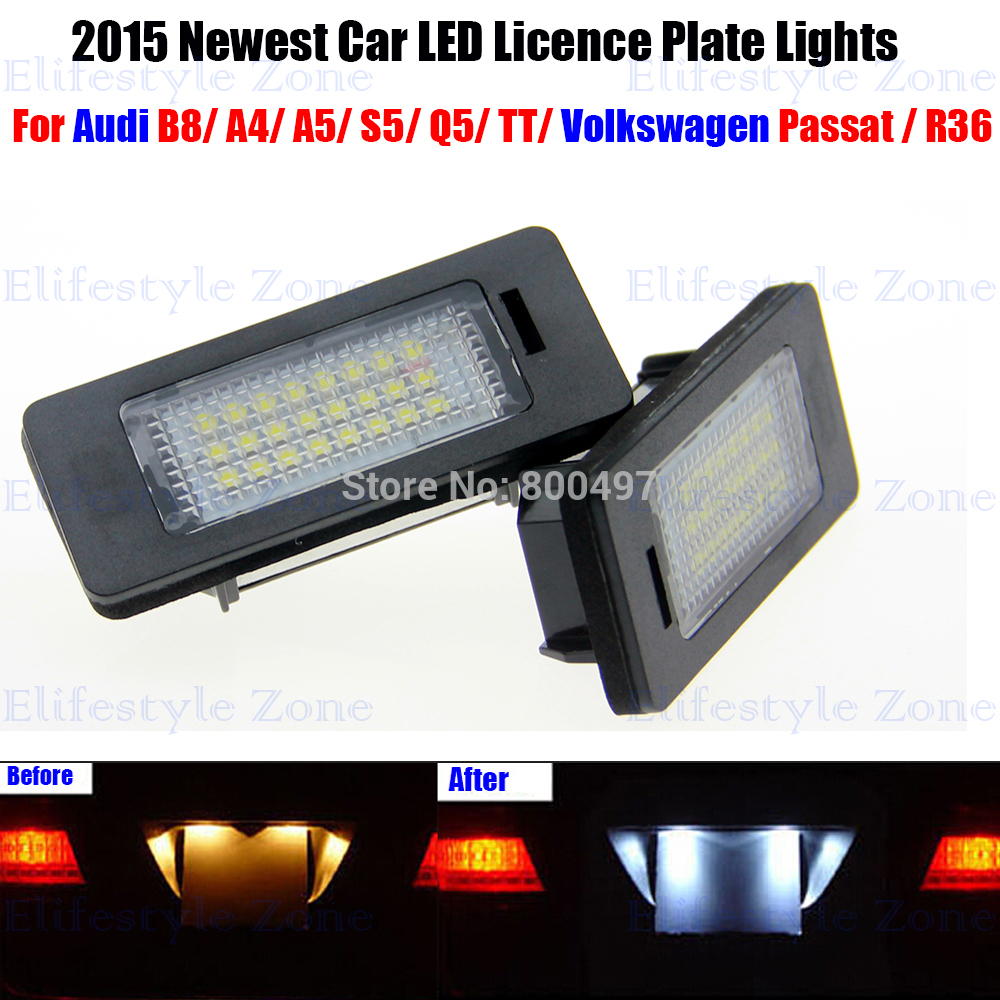 2 x LED Number License Plate Lamps OBC Error Free 24 LED For Audi A4 A5 S4 S5 Q5 TT Volkswagen Passat R36 2x e marked obc error free 24 led white license number plate light lamp for bmw e81 e82 e90 e91 e92 e93 e60 e61 e39 x1 e84