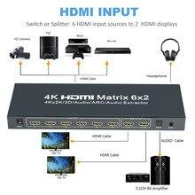 4 K x 2 K HDMI 6×2 Matrix Matriz de Interruptor Splitter HDMI1.4v 6 em 2 com Controle Remoto Suporte Óptico R/L 3.5mm de Áudio extrator