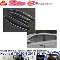 Free shipping for Hyundai Tucson 2015 2016 car body cover Stick lamp plastic Window glass Wind Visor Rain/Sun Guard Vent 4pcs