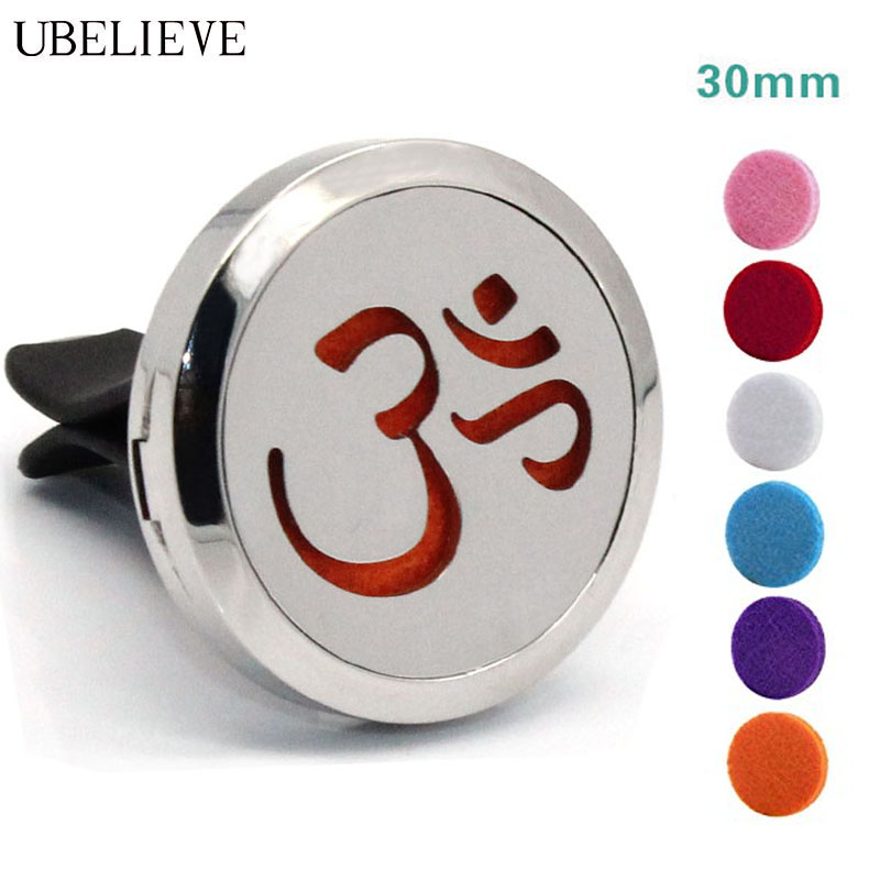 Hot Selling Essential Oil Diffuser Locket For Vent Clip 30mm Silver Round Aromatherapy Car Freshener Clip With Pads