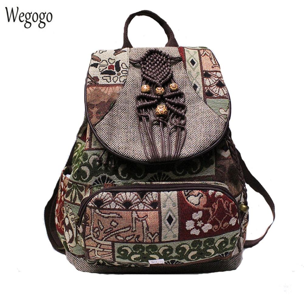 2020 New Women Backpack Female Vintage Handmade Backpacks For Girls Shoulder Bags National Geometrical Print Canvas Rucksack