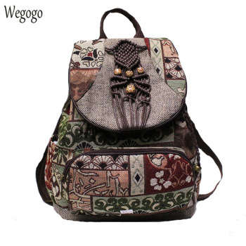 2020 New Women Backpack Female Vintage Handmade Backpacks For Girls Shoulder Bags National Geometrical Print Canvas Rucksack noenname 2018 summer new miao handmade bucket bags ethnic flowers embroidery canvas backpack women bags female national