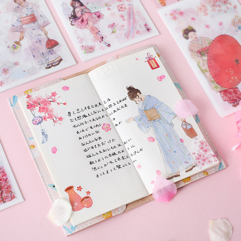 6 Pcs/pack Flying Cherry Sakura Snow Moon Bullet Journal Decorative Stationery Stickers Scrapbooking DIY Diary Album Stick