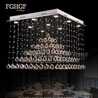 Luxury Square Crystal Chandelier Light Lustres de Cristal Lamp Modern Lighting Long Stair Lamp for Flush Mounted lampada led