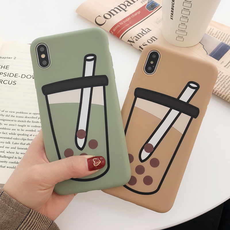 For Funny Pearl milk tea soft cover xs max apple X mobile phone shell iphone 8 7plus 6s 6 XR couple all inclusive silicone