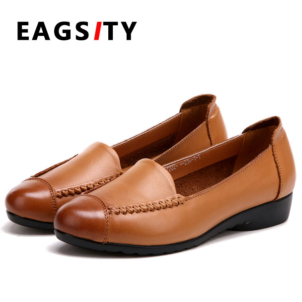 Genuine leather women flats shoes loafers round toe slip on casual dress leather shoes brown red