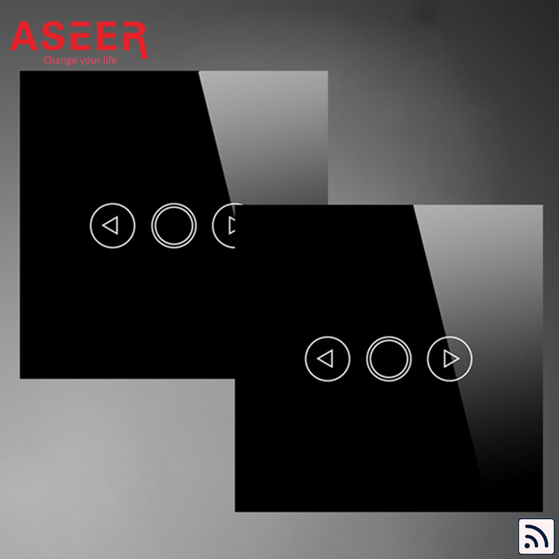 ASEER EU Standard 1Gang RF Remote Double Control Touch Dimmer Switches 500W Crystal Glass Panel Intermediate
