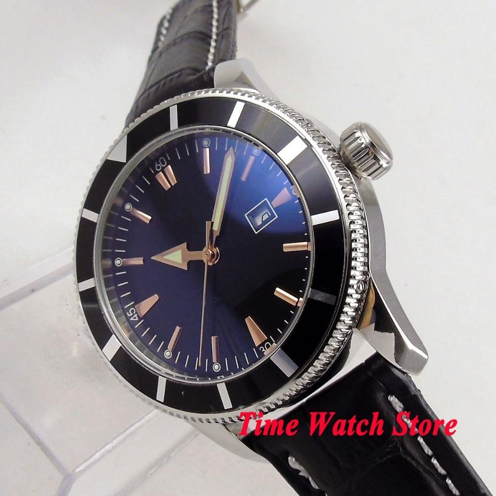 럭셔리 46mm 로고 없음 블랙 다이얼 날짜 빛나는 블랙 베젤 가죽 스트랩 deployant clasp 자동식 무브먼트 남자 시계 119-에서기계식 시계부터 시계 의  그룹 1