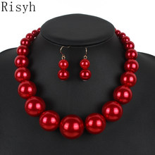 Risyh Fashion jewelry sets 7 colors pearl necklace women bridal jewelry sets necklace set(China)