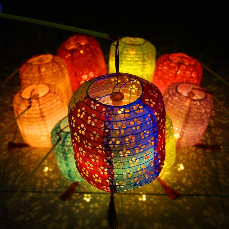 AJP 10set/lot Cylindrical white gourd hollow paper lanterns portable luminous for kids birthday party supplies