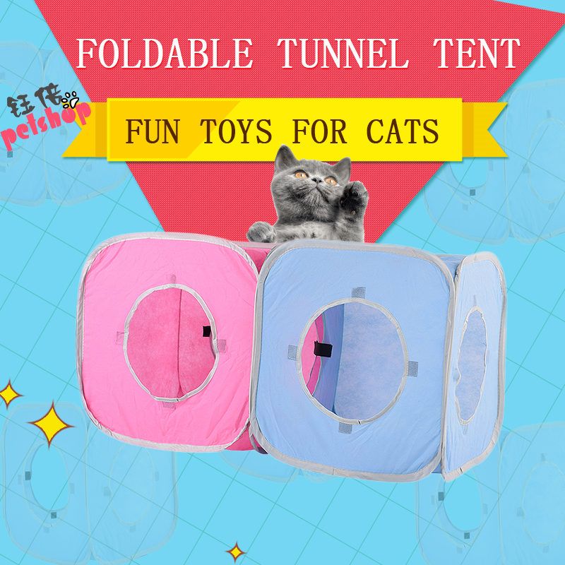 Funny Pet Cat Tunnel Tent Toy Foldable 3 Holes Pet Products Cat Supplies for Cat Toys Tunnels Outdoor Beds Mats Rabbit Play Game