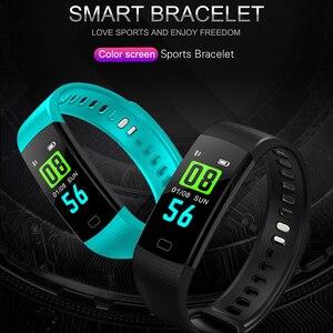 Image 2 - Akıllı Bant Y5 Kalp Hızı Kan Basıncı Monitör Yüksek Fitenss Tracker Renkli Ekran akıllı bilezik Bileklik erkekler için android