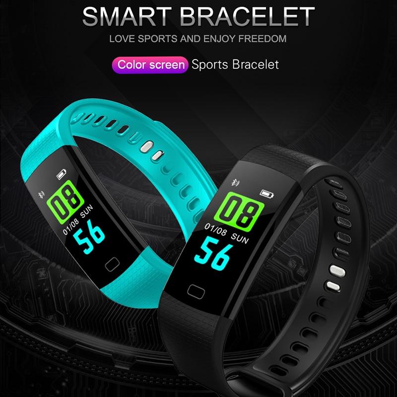 Image 2 - Смарт браслет Y5 монитор кровяного давления сердечного ритма высокое фитнес трекер цветной экран умный браслет для мужчин android-in Смарт-браслеты from Бытовая электроника