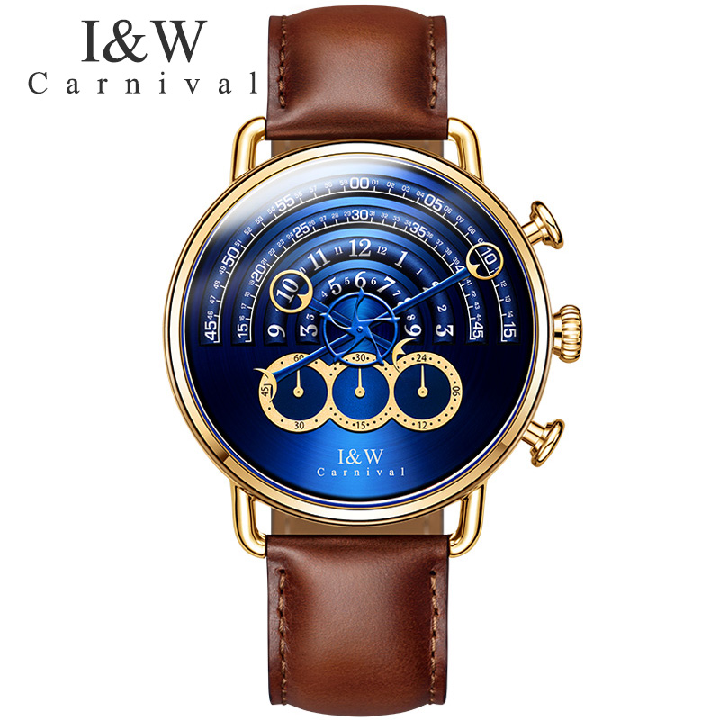 CARNIVAL I W Magic Design Big Dial Quartz Men Watch TopBrand Luxury Steampunk Sapphire Mirror Fashion