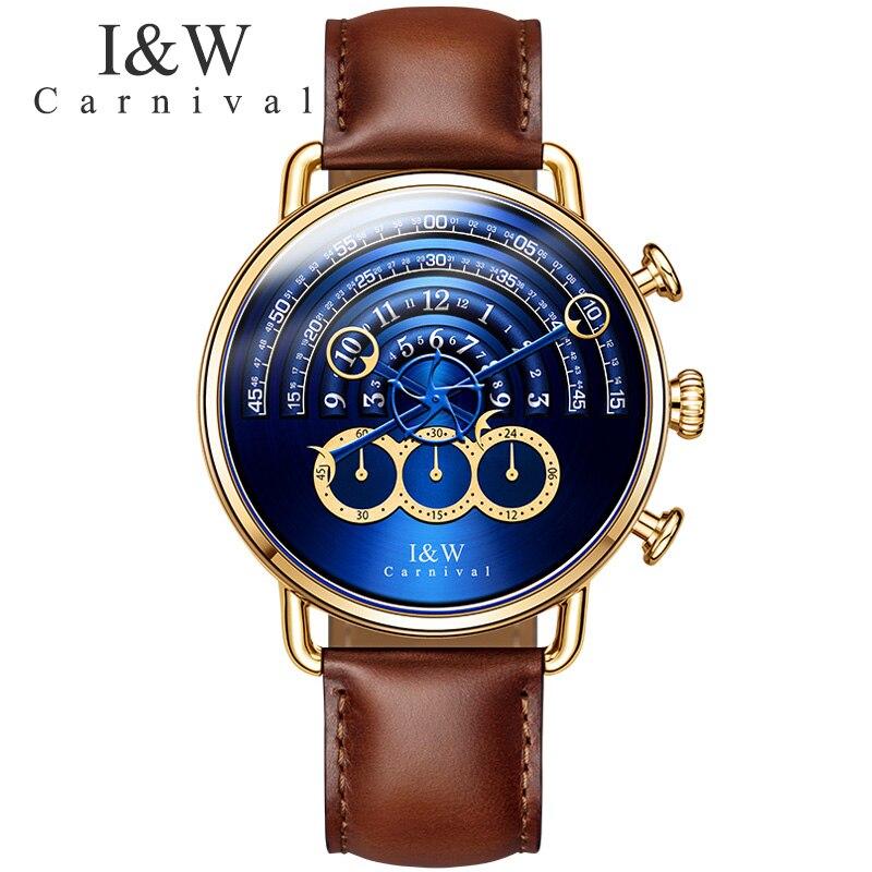 Karnawał I & W magia projekt Big Dial mężczyzna zegarka kwarcowy TopBrand luksusowe Steampunk Sapphire lustro moda skóra wodoodporna Montre w Zegarki kwarcowe od Zegarki na  Grupa 1
