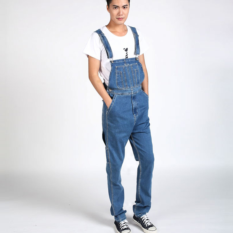 Autumn Winter Men`s Bib Denim Overalls Cowboy Big Size 30-40 Regular Fit Blue Jeans Jumpsuit For Men Big and Tall