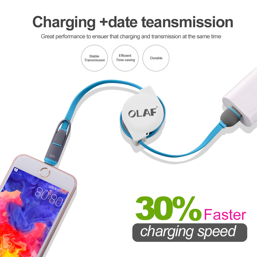 2 in 1 Micro USB Retractable Cable For iPhone X XS Portable Charging Cable For Samsung