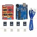 ЧПУ Щит Плата Расширения + DRV8825 Драйвер Шагового Двигателя С Радиатором + UNO R3 Доска Наборы для Arduino 3d-принтер
