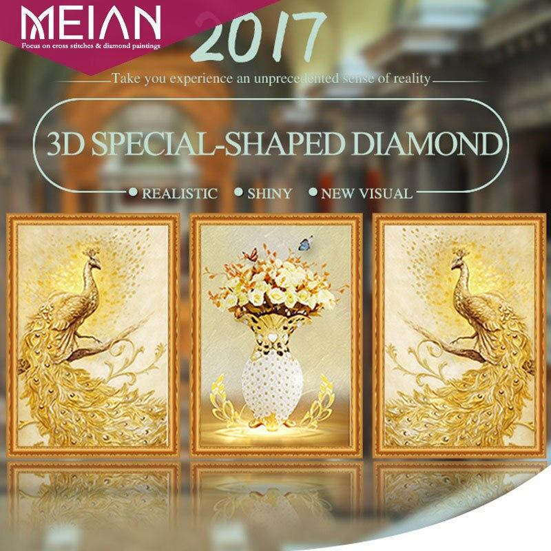 Meian, de Forma Especial, Bordado de Diamantes, Animal, Pavo Real, Flor, Completo, 5D, Diamante BRICOLAJE pintura, punto de Cruz, 3D, Mosaico de Diamantes, Decoración