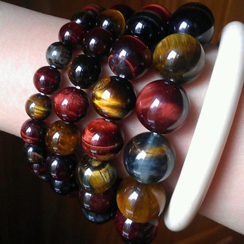 High Quality Tiger Eye Buddha Bracelets Natural Stone Round Beads Elasticity Rope Men Women Bracelet