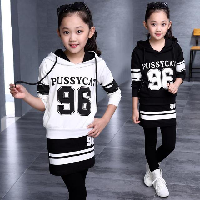 Teenager Girls' Sports Set 2Pcs Pullover Hooded Sweatshirt + Culottes Girls' Spring & Fall Clothing Set
