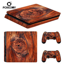 Wood Timber Console Skin Cover For Playstation 4 Slim Console PS4 Slim Skin Stickers Controller LED Protective