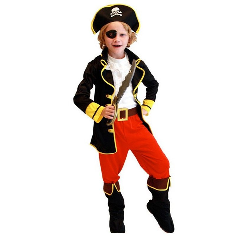 New Halloween Costumes Kids Boys Pirate Costume Cosplay set for Children Christmas New Year Purim For Kids Children(no weapons)