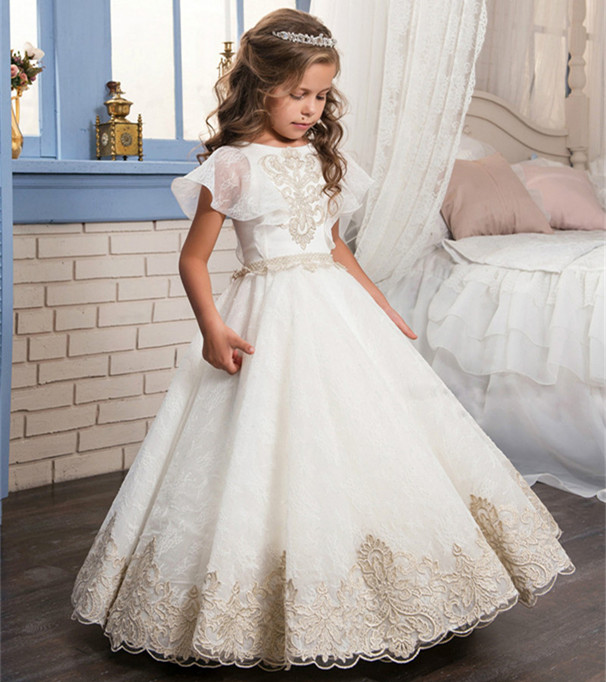 High Quality   Flower     Girl     Dress   with Champagne Appliques Belt Formal Wear Pageant Gowns First Communion Gowns Custom Made Vestido