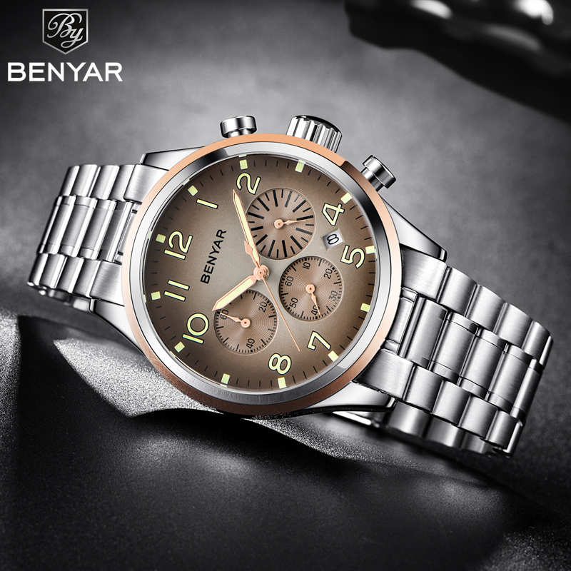 BENYAR Business Chronograph Quartz Watch Watch Stainless Steel Military Mens Watches Top Brand Luxury Clock relogio masculino брюки adl adl ad005ewamkj3